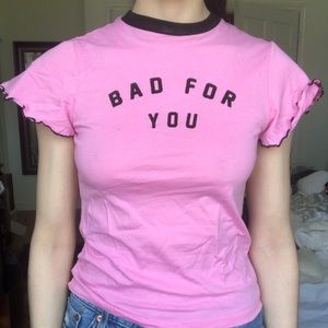 """lazy oaf """"bad for you"""" tee in pink"""